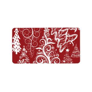 Festive Holiday Red Christmas Tree Xmas Pattern Label
