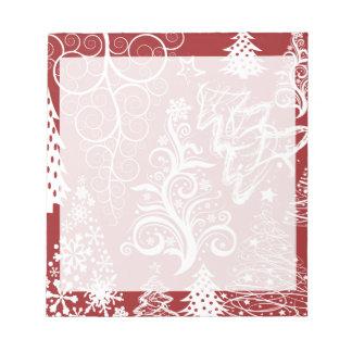 Festive Holiday Red Christmas Tree Xmas Pattern Memo Notepad