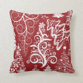 Festive Holiday Red Christmas Tree Xmas Pattern Pillow