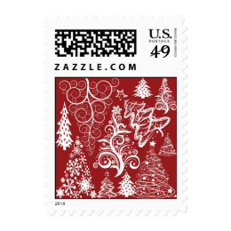 Festive Holiday Red Christmas Tree Xmas Pattern Postage Stamp