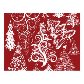 Festive Holiday Red Christmas Tree Xmas Pattern Postcard