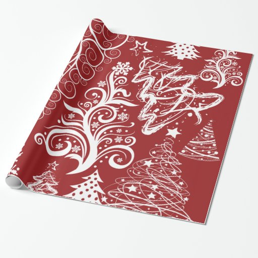 Festive Holiday Red Christmas Tree Xmas Pattern Gift Wrapping Paper