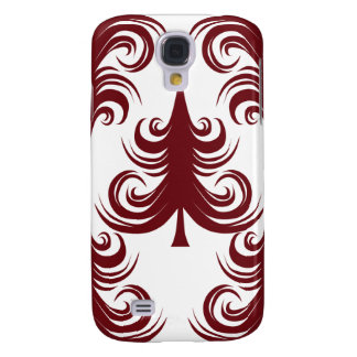 Festive Holiday Red White Christmas Tree Samsung Galaxy S4 Case