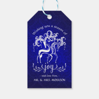 Festive Holiday Reindeer - Blue White Damask Gift Tags