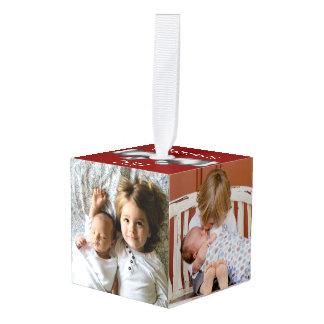 Festive Holiday Silver Bow 4 Family Photos & Name Cube Ornament
