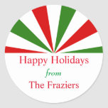 Festive Holiday Stripes Personalized Stickers