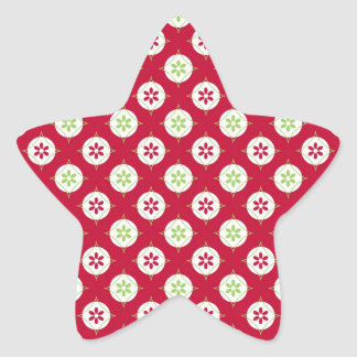 Festive Holiday Winter Pattern Red Green Star Sticker