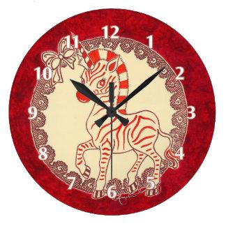 Festive Holiday Zebra Unicorn Wall Clocks
