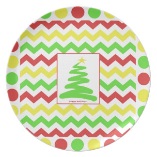 Festive Holiday Zigzag and Polka Dots in RGY Melamine Plate