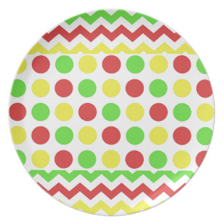 Festive Holiday Zigzag and Polka Dots in RGY Dinner Plate
