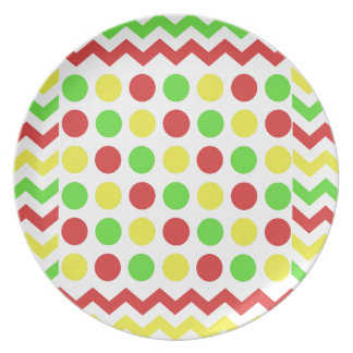 Festive Holiday Zigzag and Polka Dots in RGY Party Plates