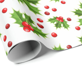 Festive Holly and Berries Christmas Wrapping Paper