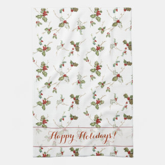 Festive Holly and Custom Greeting Kitchen Towel