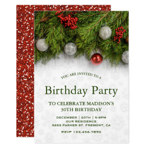 xmas christmas birthday invitations zazzle