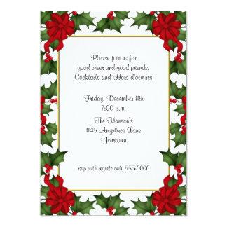 Festive Holly Holiday Invitation