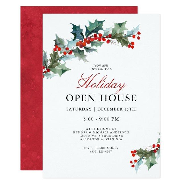 Festive Holly Holiday Open House Invitation