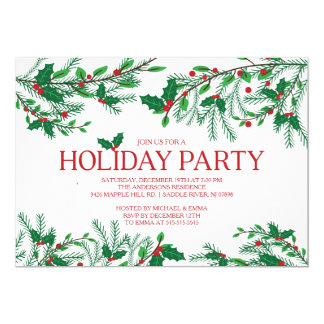 Festive Holly Holiday Party Card