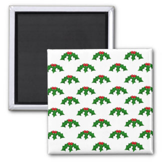 Festive Holly Leaves and Berries Pattern 2 Inch Square Magnet