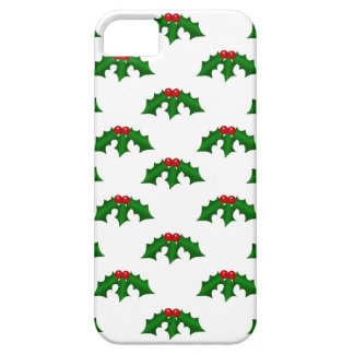 Festive Holly Leaves and Berries Pattern iPhone 5 Cases