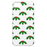 Festive Holly Leaves and Berries Pattern iPhone 5 Case