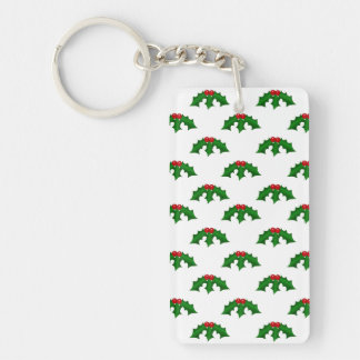 Festive Holly Leaves and Berries Pattern Keychain