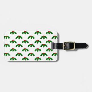 Festive Holly Leaves and Berries Pattern Tags For Luggage