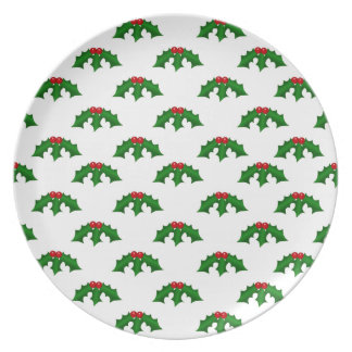 Festive Holly Leaves and Berries Pattern Plate