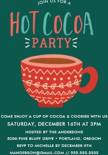 Festive Hot Cocoa Party Holiday Invitation