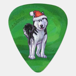 Festive Husky in Santa Hat on Green Guitar Pick