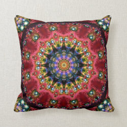 Festive Jewels Kaleidoscope Design No 08 Throw Pillow