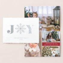 Festive Joy | Christmas Photo Collage Silver Foil Card