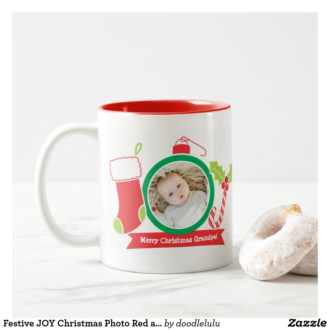 Festive JOY Christmas Photo Red and Green Two-Tone Coffee Mug