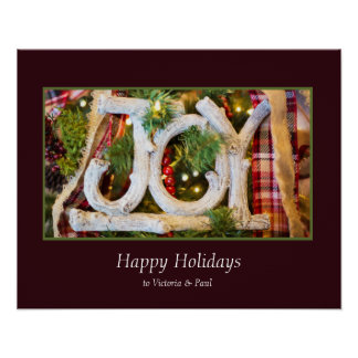 Festive Joy Photograph gift Frame Personalize Poster