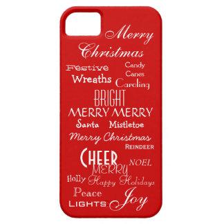 Festive Joyful Christmas Holiday Words Sayings Red iPhone SE/5/5s Case