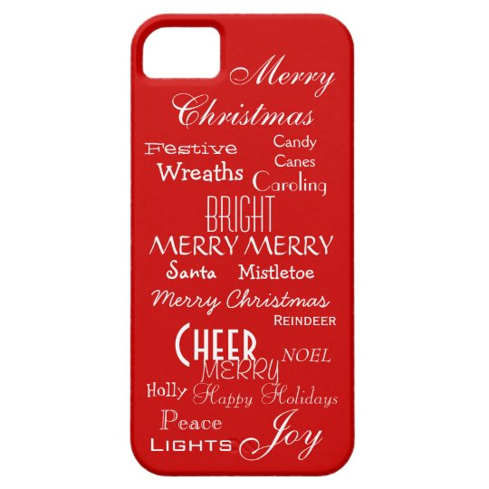 Festive Joyful Christmas Holiday Words Sayings Red iPhone SE/5/5s Case