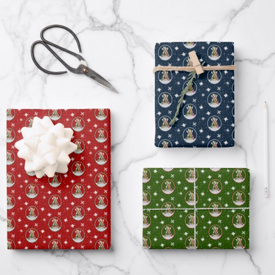 festive Kayak Christmas Tree red green blue Wrapping Paper Sheets