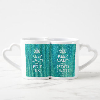 Festive Keep Calm Have Your Text Turquoise Couples Coffee Mug