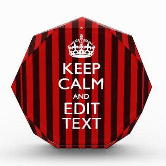 Festive Keep Calm Your Text on Red Stripes Award