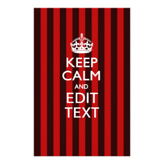 Festive Keep Calm Your Text on Red Stripes Stationery
