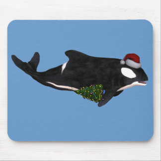 Festive Killer Whale Mouse Pad