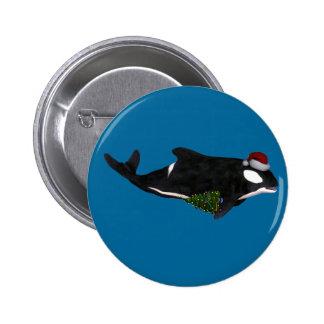 Festive Killer Whale Pinback Button