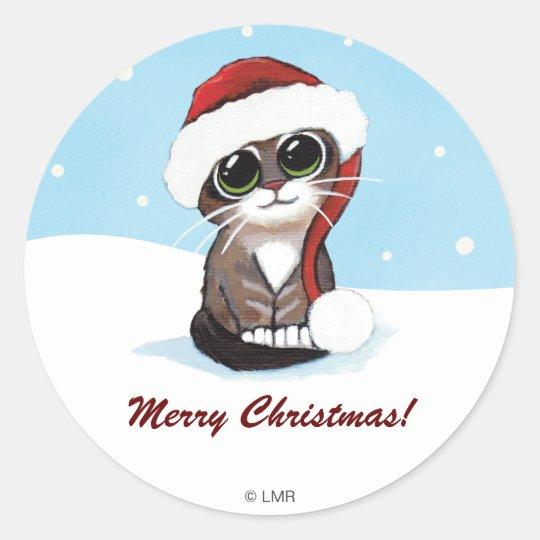 Festive Kitten Merry Christmas Personalizable Classic Round Sticker