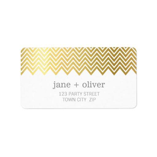 FESTIVE LABEL modern chevron pattern gold foil