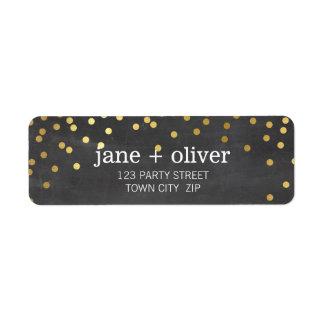 FESTIVE LABEL modern confetti spot gold CHALKBOARD