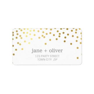 FESTIVE LABEL modern confetti spot gold foil gray