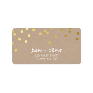 FESTIVE LABEL modern confetti spot gold foil kraft Address Label