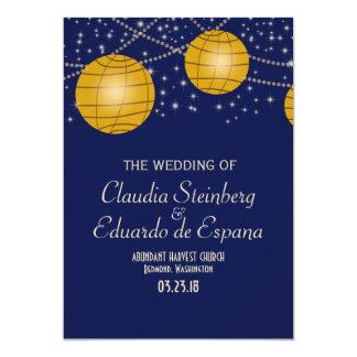 Festive Lanterns with Dark Blue & Amber Yellow 5x7 Paper Invitation Card