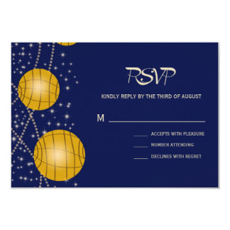 Festive Lanterns with Dark Blue & Amber Yellow Card