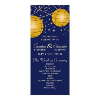 Festive Lanterns with Dark Blue & Amber Yellow 4x9.25 Paper Invitation Card