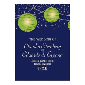 Festive Lanterns with Dark Blue & Apple Green 5x7 Paper Invitation Card
